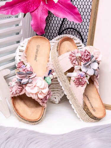 3837b274fdbe MODANOEMI Korkové denim růžové pantofle s květinami Ideal shoes SE-9609R