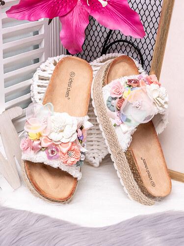 7d895f36007a MODANOEMI Korkové denim bílé pantofle s květinami Ideal shoes SE-9607B