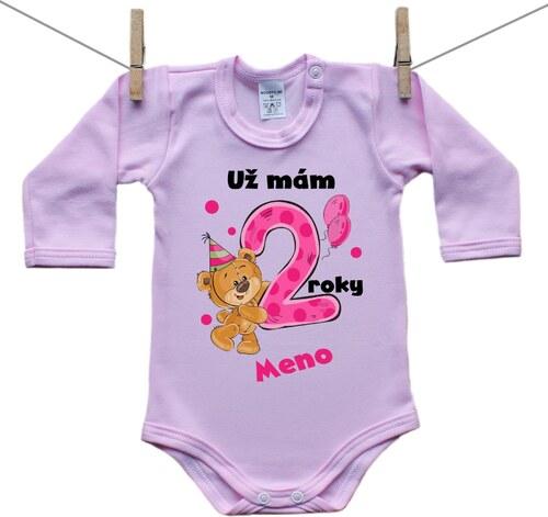 a2f0f3eb3 Boodyy Ružové Body s dlhým rukávom Už mám 2 roky s Medvedíkom a menom  dieťatka Dievča 56 (0-2 mesiace)