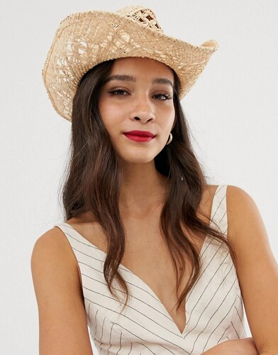 04fb3804a ASOS DESIGN straw cowboy hat with trim - Natural - Glami.sk