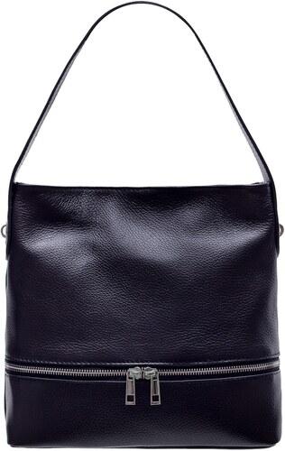 db85c559c Glamorous by GLAM Dámska kožená kabelka na rameno s vreckom na zips - čierna