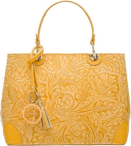 157f2794be Glamorous by GLAM Dámska kožená kabelka radenie s kvetmi - žltá ...