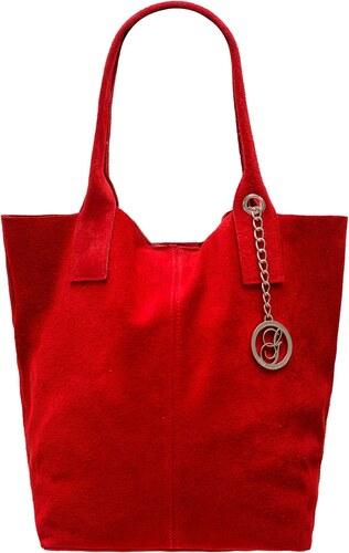 a523c8555a64 Glamorous by GLAM Dámska kožená kabelka shopper semiš - červená ...