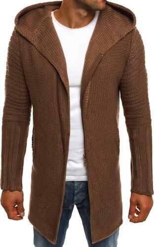 12a50a575a0b Hnedý predĺžený sveter so zipsom MADMEXT 2124S - Glami.sk