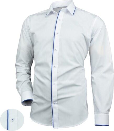 166a5f5539b2 -10% Victorio Pánska košeľa v bielom prevedení s modrým lemovaním V229