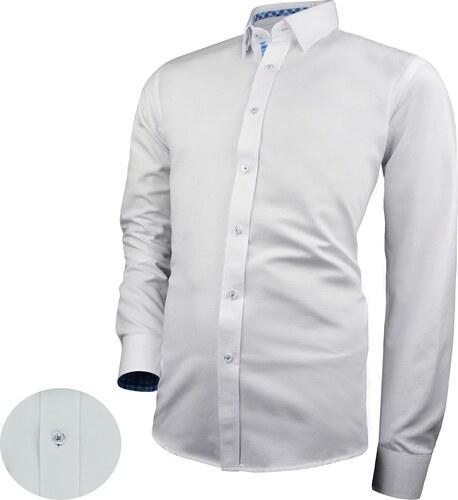 be064290bfa5 Victorio Bílá košile s modrými kontrastními prvky V278 - Glami.cz