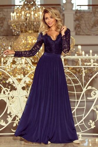 327f7cfdecc7 Numoco Exklusivní plesové šaty s krajkou tmavě modré - Glami.cz