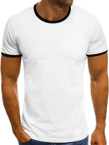 ac28a1b12287 Pánske biele tričko s čiernym lemovaním O 1177 - Glami.sk