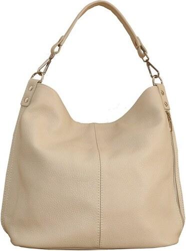 54adf1cd75 -10% TALIANSKE Talianska veľká kožená kabelka na plece vrecovitá béžová  Ludmila