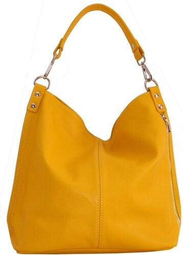 230dcf9226 -10% TALIANSKE Talianska Veľká kožená kabelka na plece vrecovitá žltá  Ludmila