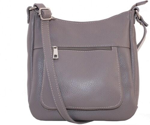 53c4f063e1 Talianske kožené kabelky dámske cez rameno stredné sivé Zolana