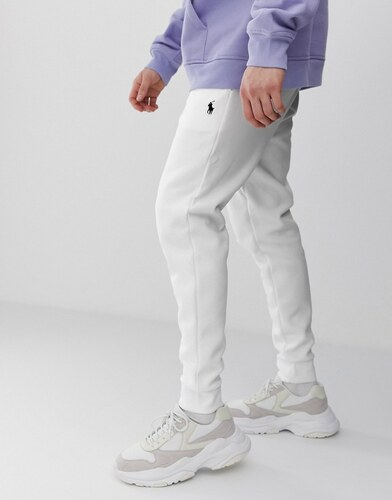 5cf3d27e48 -20% Polo Ralph Lauren player logo double tech cuffed joggers in white -  White