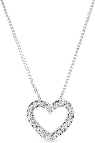 893ca92a1 Náhrdelník ve tvaru diamantového srdce z bílého zlata KLENOTA k0543012