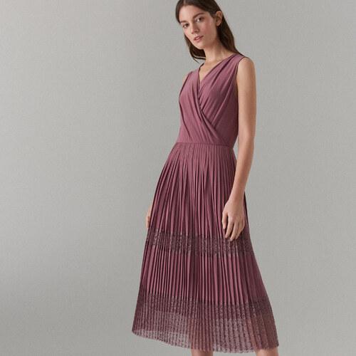 e9ba327147 Mohito - Pliszírozott ruha átlapolt nyakkivágással - Rózsaszín ...