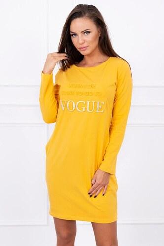 e398ab1312d8 MladaModa Šaty s nápisom Vogue horčicové - Glami.sk
