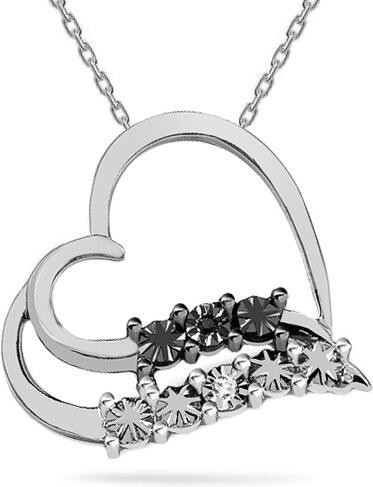 8175234e8 iZlato Forever Prívesok z bieleho zlata s čiernym a čírym diamantom 0.010 ct  Srdce K9U0076