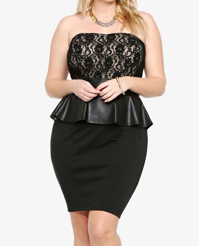 2781624cae2b Damson Elegantní černé dámské peplum šaty (XL XXL) - Glami.cz