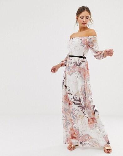 c7879d3ef7bb Little Mistress bardot long sleeve maxi dress in floral print - Multi