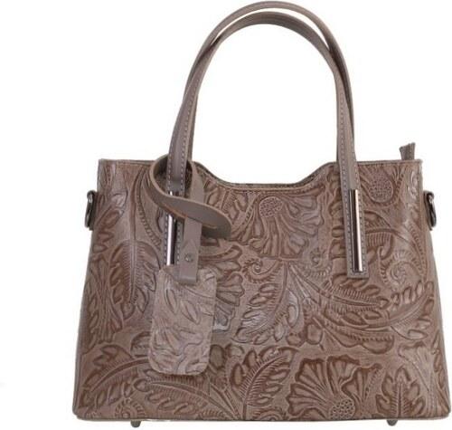 2197acc809d1 -10% Talianske stredné casual kožené kabelky cez plece ružové Carina s  kvetmi