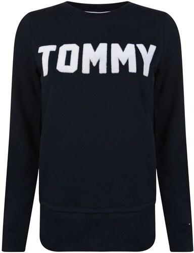 a0450675ad Dámská mikina Tommy Hilfiger Textured Logo Navy - Glami.cz