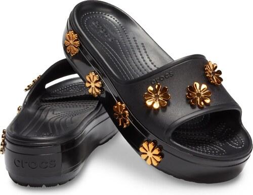 0cb664f374 -5% Crocs čierne šľapky na platforme Crocband Platform Metallic Blooms  Slide Black