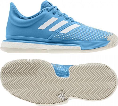 e0cc380b4e Dámske tenisové topánky adidas Performance SoleCourt Boost W clay (Modrá    Biela)