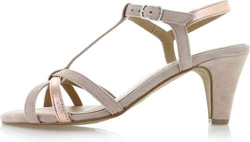 7b1c5038caf0f Tamaris Světle růžové kožené sandály 1-28360 - Glami.cz