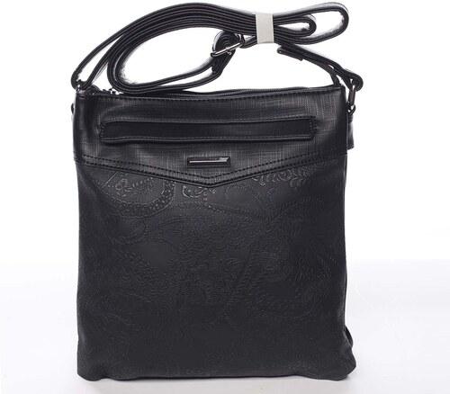 cef019f0e0 Štýlová elegantná čierna crossbody kabelka so vzorom - Silvia Rosa Nicole  čierna