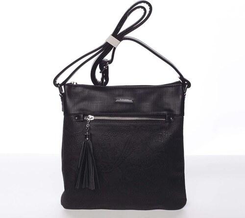 7c373e3b8c Elegantná čierna mäkká dámska crossbody kabelka - Silvia Rosa Roxana čierna