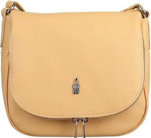 d2e3669e4d046 Stredná dámska kožená kabelka športová crossbody Wojewodzic jemne žltá  31506/FD45
