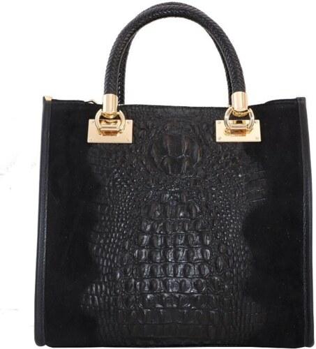 b4aea0f53e -10% TALIANSKE Talianska pracovná kožená kožená kabelka do ruky čierna  Parisa