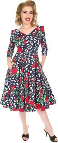 bdeef5d3f6f9 Dedoles Retro pin up šaty s rukávem Bílé a červené květy S - Glami.cz