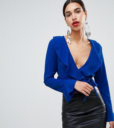 fa1b95372e2f Boohoo Ruffle Detail Wrap Blouse - Blue - Glami.sk