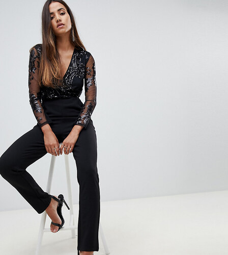 36941879eb1e -61% Scarlet Rocks jumpsuit with sequin upper and tapered leg in black -  Black