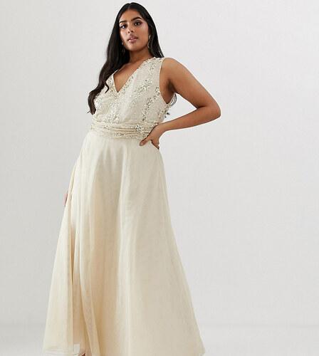 28a61464434c Nové ASOS Curve ASOS DESIGN Curve maxi dress with drape pearl and sequin  bodice - Champagne