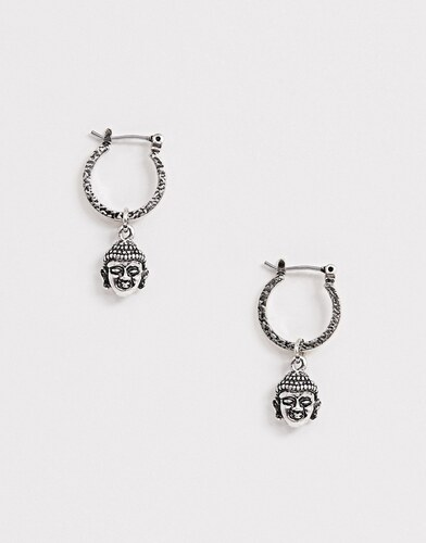 1bf9ad8a3 ASOS DESIGN hoop earrings with buddha in burnished silver - Silver ...