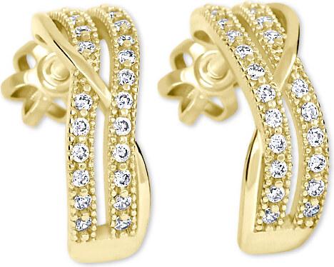 8c79f8aad Brilio Zlaté polkruhové náušnice s kryštálmi 239 001 00978 - 2,30 g ...