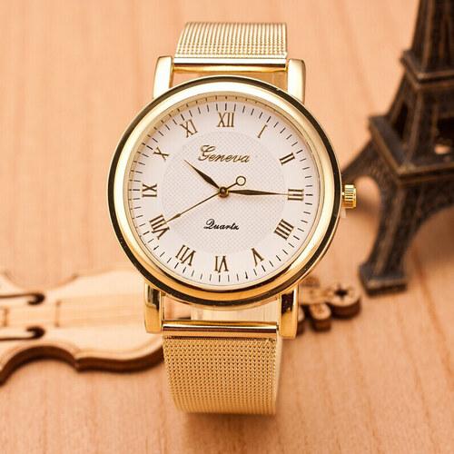 988512eed Načančaná.cz Dámské zlaté páskové hodinky Geneva římské - Glami.cz