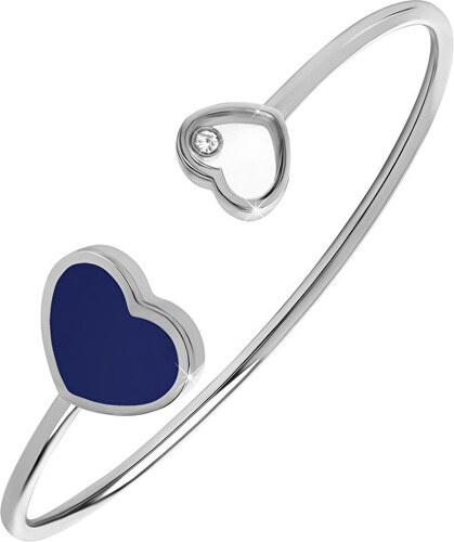 c6ac6d422 Troli Pevný oceľový náramok so srdiečkami oceľová / modrá - Glami.sk
