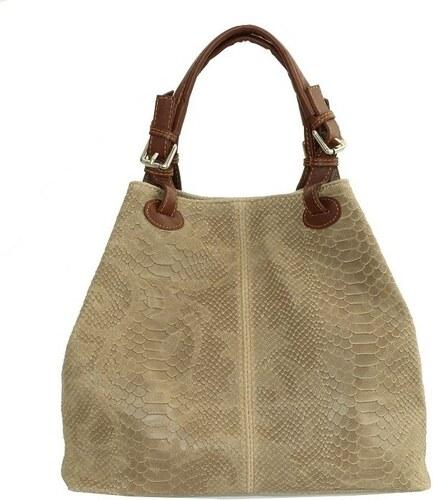 96224f1cd7a2 TALIANSKE Talianska veľká kožená kabelka béžová Vanda k denimu ...