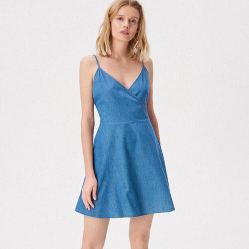 6e73a15a7b Sinsay - Átlapolt kivágású, vállpántos ruha - Kék - Glami.hu
