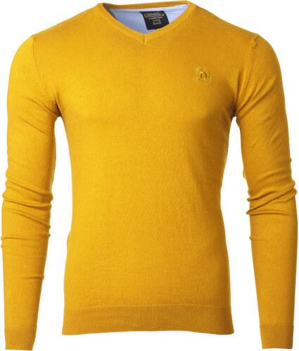 f7095ea9d8cd Ombre Clothing Pánsky sveter s výstrihom do V Verel žltý - Glami.sk