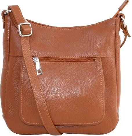 29effcd6dbee ... Talianske kožené kabelky dámske cez rameno stredné camel Zolana