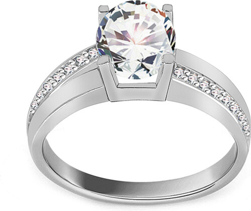 6809eadda -6% iZlato Forever Zásnubný prsteň z bieleho zlata so zirkónmi IZ19065A