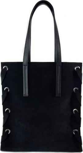 2edd4713fb Kožená shopper bag kabelka Vera Pelle WK7 černá - Glami.cz