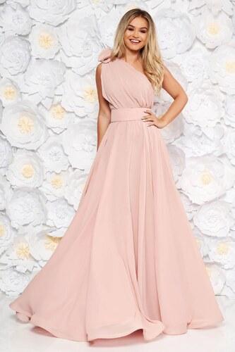595c6c3844 Rózsaszínű StarShinerS egy vállas alkalmi ruha fátyol anyag - Glami.hu