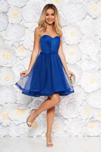 eb14972d7e Kék alkalmi StarShinerS fűzős ruha szivacsos mellrész - Glami.hu