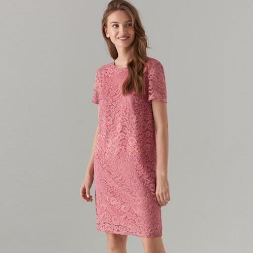 c0e784b89b55 Mohito - Čipkované šaty s krátkymi rukávmi - Ružová - Glami.sk