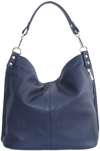 48c163d762 -10% TALIANSKE Talianska kožená kabelka vrecovitá tmavomodrá Ludmila