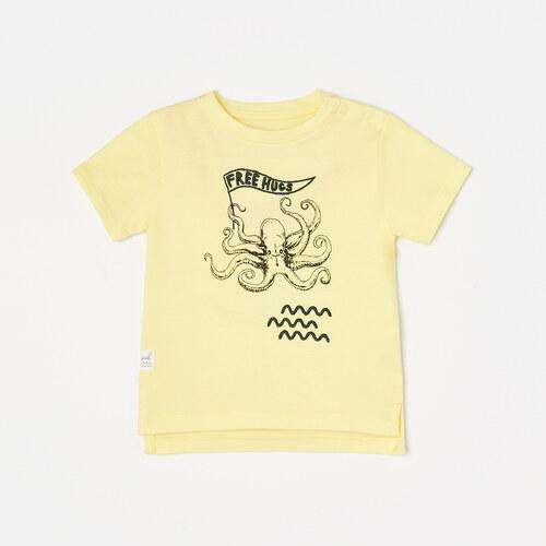 fad5bef97dfd Reserved - Tričko s potlačou s motívom chobotnice - Žltá - Glami.sk